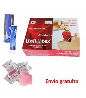 Pack Preservativos con lubricante y esponjas antimenstruación