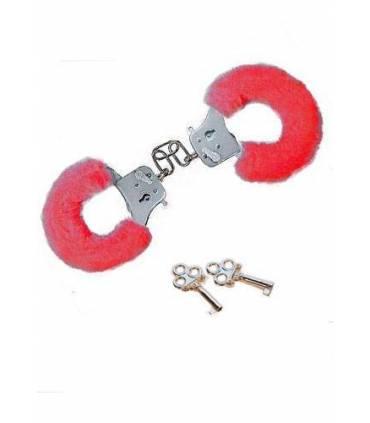 Esposas de metal forradas con felpa, color rojo  ref: 88